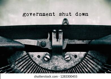 Government shutdown text typed on vintage typewriter
