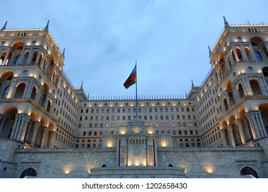 Governmental building in baku with Azerbaijan flag