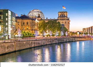 Governmental quarter of Berlin with the Parliament building Bundestag at night, Berlin, Germany