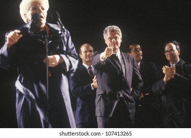 Governor Bill Clinton and Governor Ann Richards at a Texas campaign rally in 1992 on his final day of campaigning in Ft. Worth, Texas