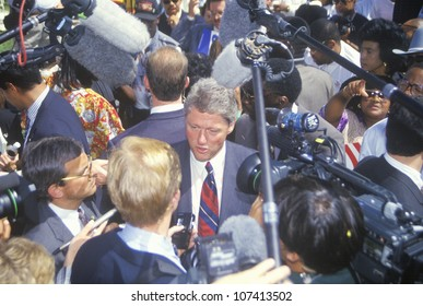 Governor Bill Clinton greets the crowd on Mexican Independence Day during a 1992 campaign rally in Baldwin Park, LA