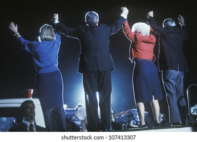 Governor Bill Clinton, Hillary Clinton, Governor Ann Richards and Senator Lloyd Bentsen at a Texas campaign rally in 1992 on his final day of campaigning, McAllen, Texas