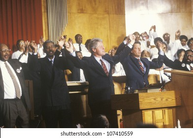Governor Bill Clinton and Senator Al Gore attend service at the Olivet Baptist Church in Cleveland, Ohio during the Clinton/Gore 1992 Buscapade Great Lakes campaign tour