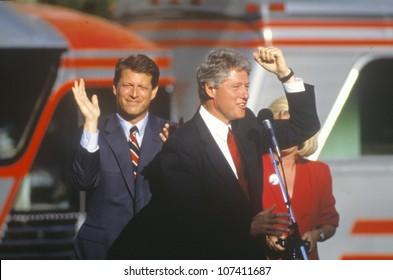Governor Bill Clinton and Senator Al Gore on the 1992 Buscapade campaign kick off tour in Cleveland, Ohio