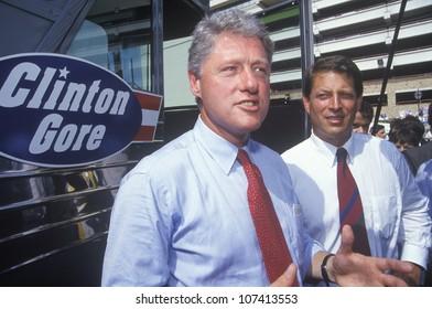 Governor Bill Clinton and Senator Al Gore on the 1992 Buscapade campaign tour in San Antonio, Texas