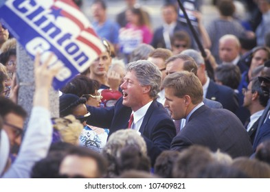 Governor Bill Clinton shakes hands on the 1992 Buscapade campaign kick off tour in Cleveland, Ohio