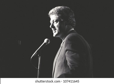 Governor Bill Clinton speaks at a New York rally during the Clinton/Gore campaign of 1992