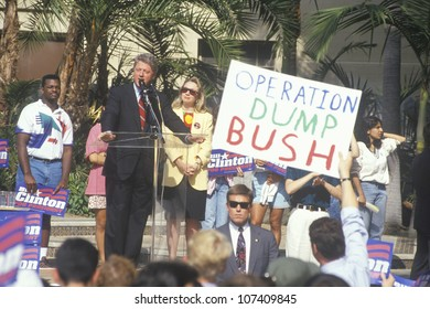 Governor Bill Clinton speaks at a UCLA rally in 1992 in Los Angeles, California