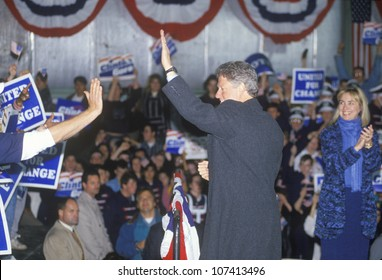 Governor Bill Clinton works the crowd at a Michigan campaign rally in 1992 on his final day of campaigning, Detroit, Michigan