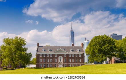 Governors Island with Manhattan skyline on background.