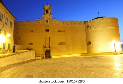 The Governors Palace in the citadel at night , Bastia, North Corsica, France