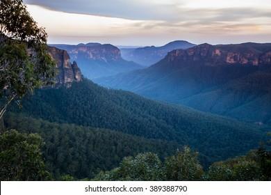 Govetts Leap Blackheath NSW Blue Mountains Australia at sunset