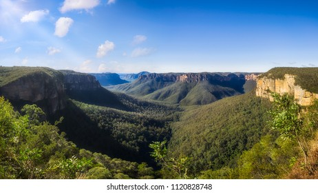 Govetts Leap Lookout Panorama, Blackheath, Blue Mountains National Park, New South Wales, Australia. The vast gorge was visited by Charles Darwin in 1836.