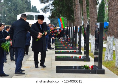 Goychay Martyrs' Alley. The tomb of soldiers killed in the war for Karabakh. Goychay, Azerbaijan. January 20, 2018