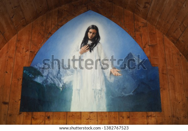 Gozd Martuljek / Slovenia - 7th August 2018: Painting of Mary of the Snow, the protector of hikers, climbers and alpinists which is located in the small chapel near  Waterfalls in Gozd Martuljek.
