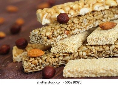 Gozinaky. Various honey bars with peanuts, sesame and sunflower seeds