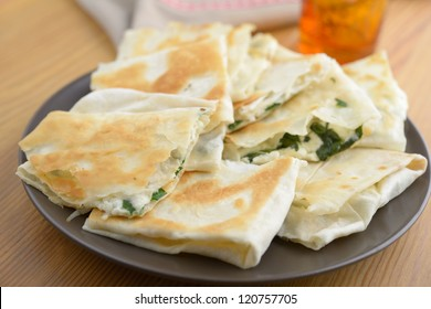 Gozleme with white cheese and spinach