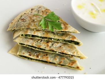 gozleme and yogurt