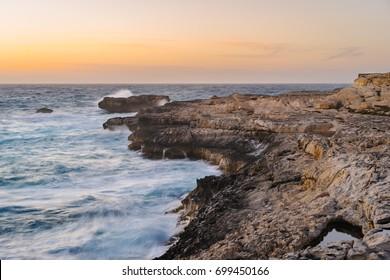 Gozo Island coastline during the spring storm. Dwejra, Maltese archipelago