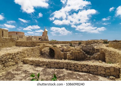 Gozo island, Malta Citadel fortified town remains. Limestone detail inside Cittadella - Castello acropolis in Victoria Town, part of UNESCO World Heritage Sites.