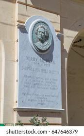 Gozo Island, Malta - May 8, 2017: Memorial to memorize Maltese women poets Mary Meylak (or Meilak).
