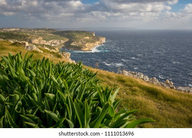 Gozo landscape, view on Xlendi bay and Malta, Mediterranean Sea, winter. shallow depth of field.