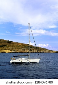 Gozo, Malta - 12th October 2018:Yacht  leaving Gozo