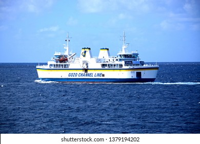 GOZO, MALTA - APRIL 3, 2017 - Gozo Channel Line ferry with views out to sea, Malta, Europe, April 3, 2017.