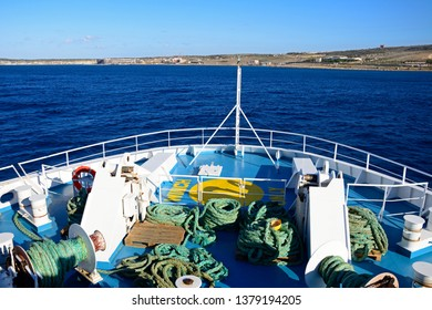 GOZO, MALTA - APRIL 3, 2017 - Bow of the Gozo Channel Line ferry with views towards the Maltese coastline and port, Malta, Europe, April 3, 2017.