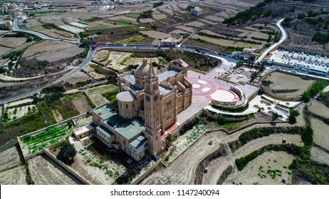Gozo, Malta - July 21, 2018: The Basilica of the National Shrine of the Blessed Virgin of Ta' Pinu, a Roman Catholic church located 2,300 feet from the village of Gharb.