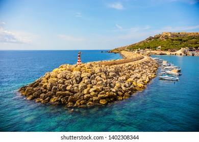 GOZO, MALTA - September 2018: Entrance to the Mgarr Harbour, the main port on Gozo island, Malta