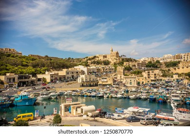 GOZO, MALTA - September 2018: View of Mgarr Harbour, the main port on Gozo island, Malta