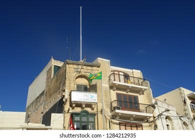 Gozo/Malta - 06/25/2013: typical Gozo wooden balcony