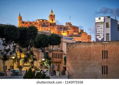 GOZO/MALTA - November 22, 2017: The Cittadella of Victoria after sunset at Gozo, Malta