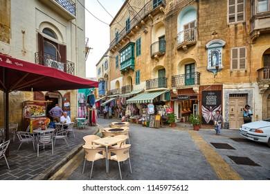 GOZO/MALTA - November 22, 2017: Tourist district in Victoria city at Gozo, Malta