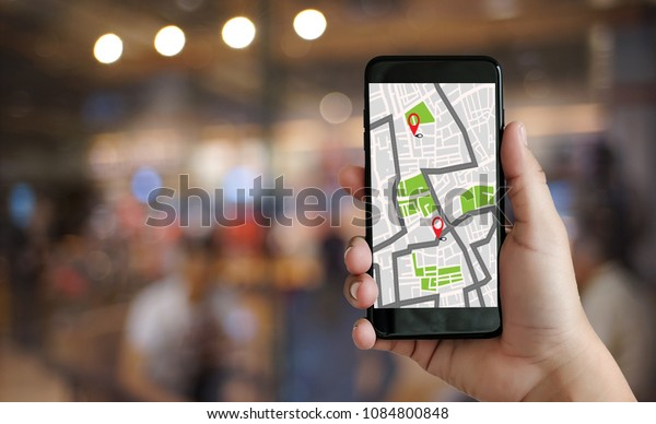 GPS Map to Route Destination network connection Location Street Map with GPS Icons  Navigation