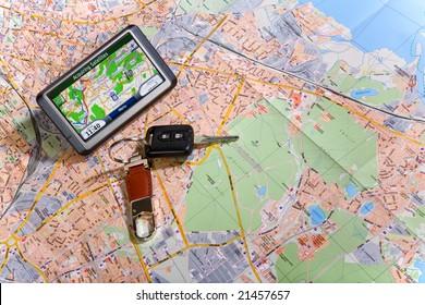GPS Navigation system on a traveling map