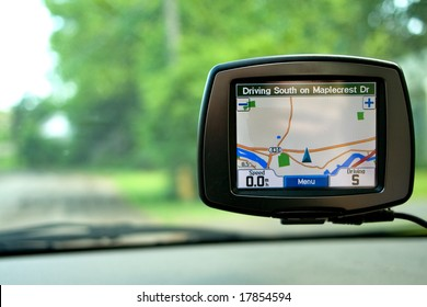 GPS Navigation system in a traveling car.