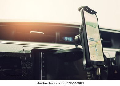 gps on car by smartphone, navigation, using gps, travel, driving