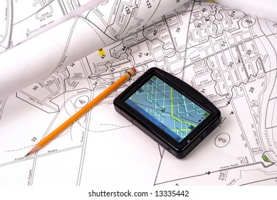 GPS on streets map and pencil