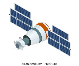 GPS satellite. Flat  isometric illustration. Wireless satellite technology. World global net. used for workflow layout, game, diagram, number options, web design and infographics