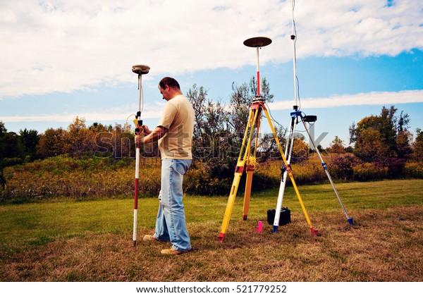 Gps Survey Land Surveyor Field Stock Photo (Edit Now) 521779252