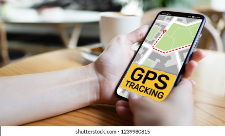 GPS tracking map on smartphone screen.  Global positioning system, navigation concept.