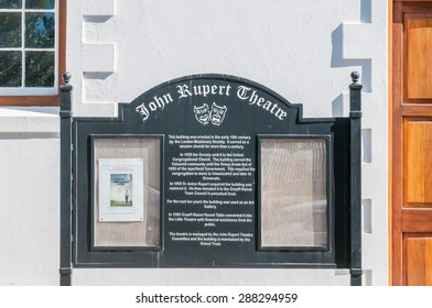 GRAAFF REINET, SOUTH AFRICA - JANUARY 6, 2015: Name board at the John Rupert Theater, one of more than 200 buildings in the town declared as a national monuments