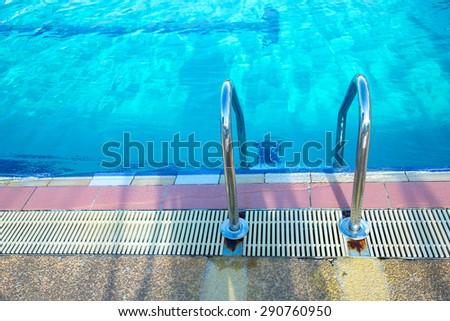 Grab Bars Ladder Blue Swimming Pool Stock Photo (Edit Now) 290760950