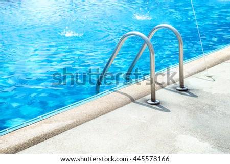 Grab Bars Ladder Blue Swimming Pool Stock Photo (Edit Now) 445578166