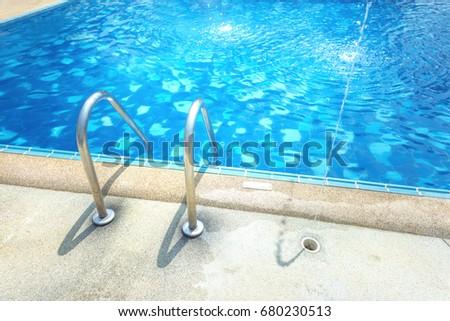 Grab Bars Ladder Blue Swimming Pool Stock Photo (Edit Now) 680230513