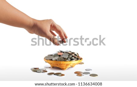 Grab Coin Placed Bamboo Weave Basket Stock Photo (Edit Now
