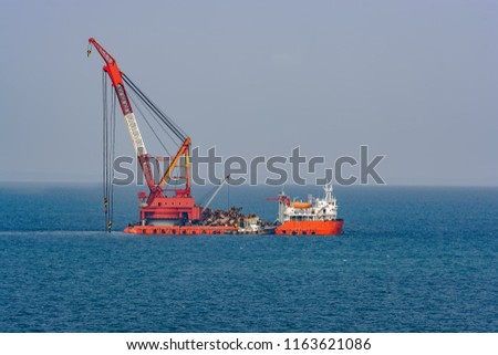 Grab Dredegr Ship Cleaning Sea Bottom Stock Photo (Edit Now