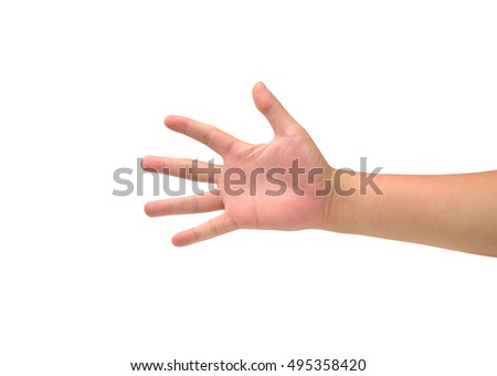 Grab Hand Isolated On White Stock Photo (Edit Now) 495358420